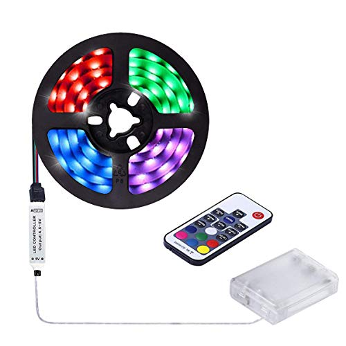 aijiaer Battery Powered Led Strip Lights, 5050 2M/6.6FT, Waterproof Flexible Color Changing RGB LED Light Strip, 60 LEDs 5V Battery-powered with RF Controller by aijiaer