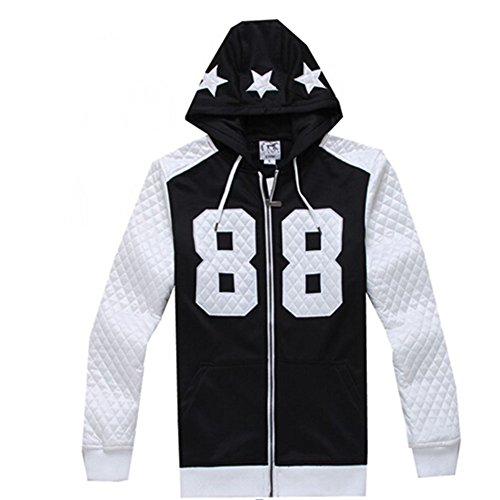 Madhero Men's 88 Lucky Number Full-zipper Fashion Hoodie (2XL, FBA Black) by MADHERO