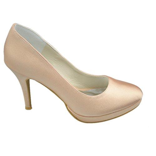 Minitoo GYAYL149H Womens Stiletto High Heel Satin Evening Party Bridal Wedding Platform Sexy Pumps Champagne EOJqE