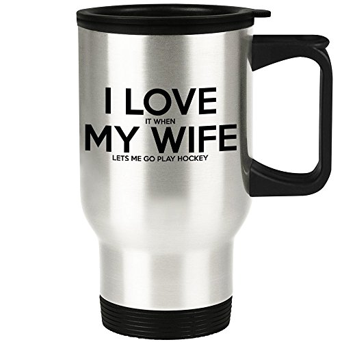 Husband Hockey Player Travel Mug - Funny Hockey Traveler Coffee Cup Gift Idea for Married or Engaged Men - Puck Gag Gift for Him from Wife, Bride, Mom, Daughter, Son, Friends, or Groomsmen