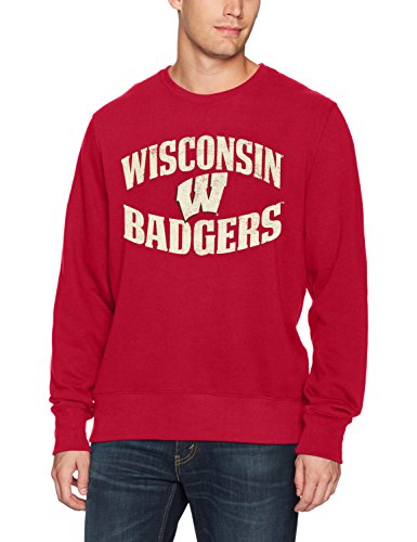 Wisconsin Badgers Fleece - OTS NCAA Wisconsin Badgers Adult Men NCAA Men's Fleece Crew Distressed, X-Large, Red