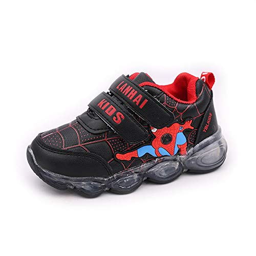 ROKIDS Kids Baby LED Spiderman Light up Sneakers Soft Toddler Shoes 6.5 Little Kid Black -