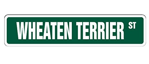 "Wheaten Terrier Street Sign Sticker Decal Dog Lover Great Gift Pet Owner Lap Walker Grooming Sticker 2""x8.2"""