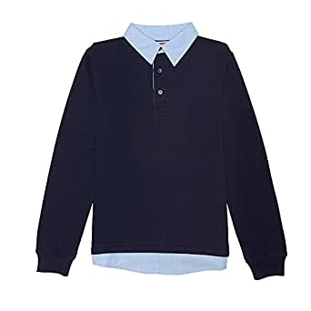 French Toast Little Boys' Long Sleeve Knit 2-Fer Polo, Navy, XS (4/5)