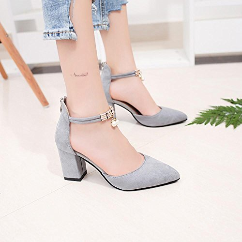 Heeled Gray Sale Pumps Ladies Strap Summer Ankle Womens hot Sandals Amiley Shoes Pointed Toe Chunky Block Wedding T5awq87