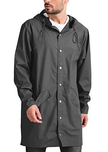 JINIDU Men's Lightweight Waterproof Rain Jacket Packable Outdoor Hooded Long Raincoat by JINIDU