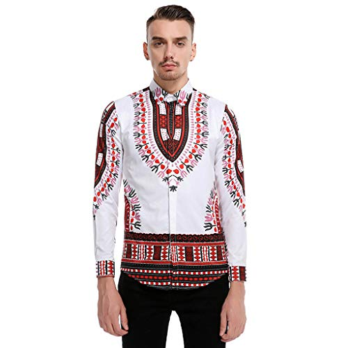Fashion Mens Vintage African Print Long Sleeve Turn-Down Collar Tops Shirt Wine]()
