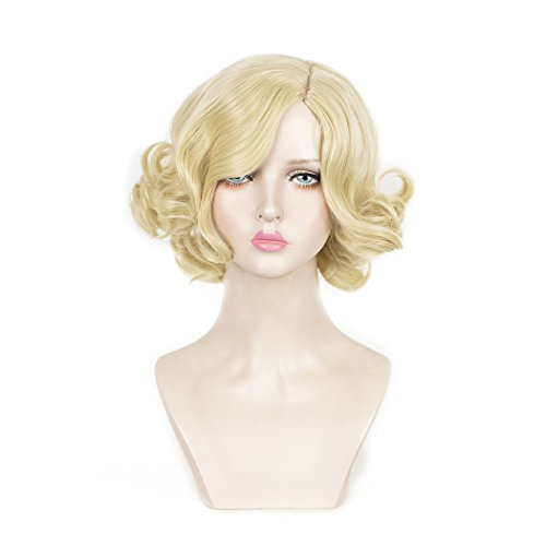 SiYi Short Curly Wig Blonde Wavy Synthetic 1920s Wigs Heat Resistant Costume Full Wigs for Women (Spiky Blonde Wig)