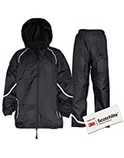 Salzmann 3M Waterproof Rainsuit | Elasticated Waist Band and Foldable Hood | Made with 3M Scotchlite Reflective Material | Ideal for Walking, Hiking, Cycling, Etc.
