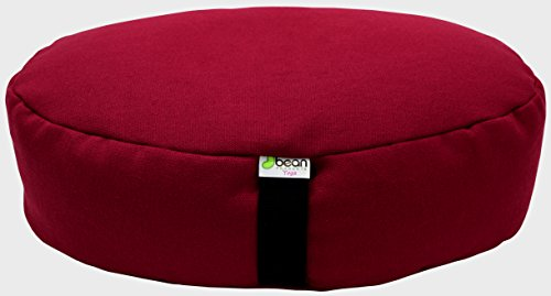 HEMP CRANBERRY - Oval Zafu Meditation Cushion - Yoga - Organic Buckwheat Fill - Made in USA