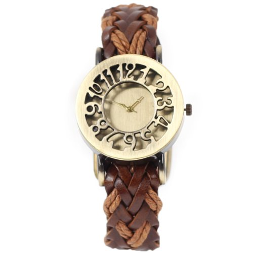 2013newestseller Brown Retro Vintage Classic Hollow Out Weave Wrap Around Wrist Watch