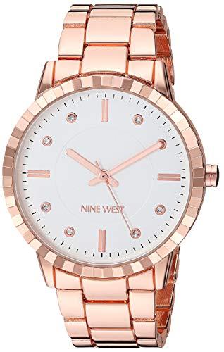 Nine West Women's NW/2282SVRG Crystal Accented Rose Gold-Tone Bracelet Watch (Link Watch Bracelet Geneva)