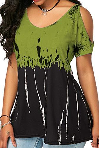 Landove T Shirt Spalle Scoperte Bluse e Camicie Estive Donna Camicetta Manica Corta Casual Top Scollo a Barca Tinta Unita Verde C