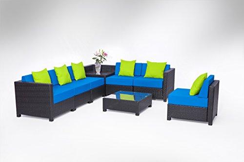 Exacme 8 pcs Luxury Black Wicker Patio Sectional Indoor O...