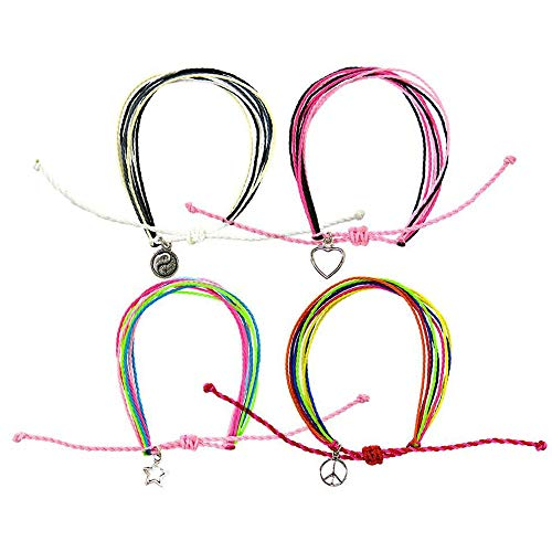 (FROG SAC 4 PCs Friendship String Bracelets for Women and Girls - Handmade Braided Rope Bracelet Set with Silver Charms | Multi Layer Waterproof Wax Cord - Great Party Favors and Valentine's Gifts)