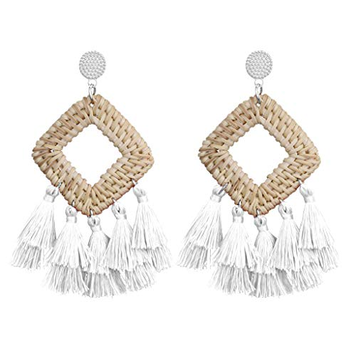 FEDULK Womens Bohemia Jewelry Tassel Earrings Statement Dangle Ethnic Fringe Weaving Square Sector Earrings(White)
