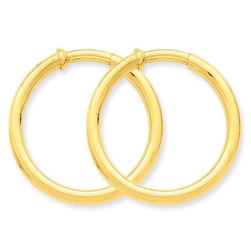 ICE CARATS 14k Yellow Gold Non Pierced Clip On Hoop Earrings Ear Hoops Set Fine Jewelry Ideal Mothers Day Gifts For Mom Women Gift Set From Heart by ICE CARATS