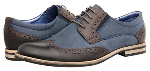 Tapi Mens Leather Shoes Low Shoes 300002 Scarpe Stringate - Marrone Scuro Blu Ver. 2