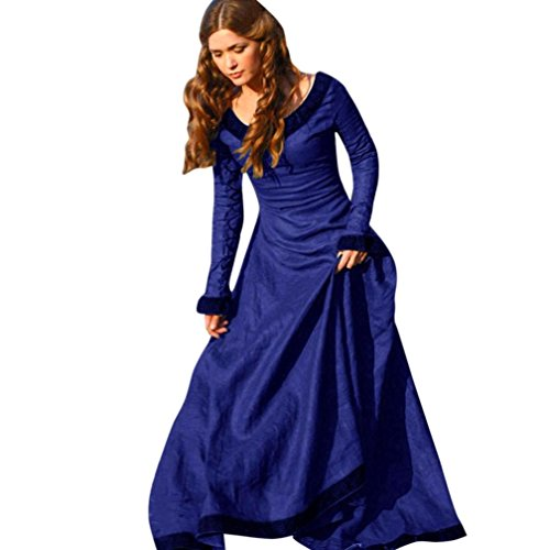 Auwer Spring Vintage Style Women Masquerade Medieval Cotton Dress Cosplay Costume Princess Renaissance Gothic Dress Plus Size  S  Blue