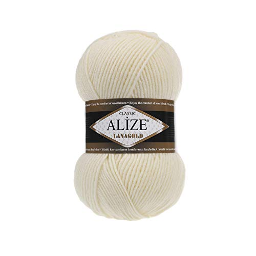 Hand Knitting Yarn Alize LanaGold Yarn for Crochet, Knitting & Crafting Wool Blend Warm Soft Natural Chunky Hand Woven Knitting Crochet Knitwear Wool Lot of 4 skeins 400gr 1048 yds Color 01 Cream (Acrylic Blend Knitwear)