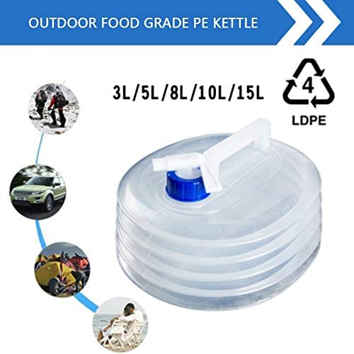 White Benjamin George Pearson 3L 5L 8L 10L 15L Outdoor Collapsible Foldable Water Bags Container Camping Hiking Portable Survival Water Storage Carrier Bag