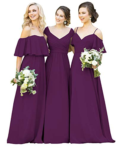 Yilisclothing Women's Spaghetti Strap V-Neck A-line Ruffled Sleeves Evening Dress Long Wedding Guest Dress Plum-B US12 ()