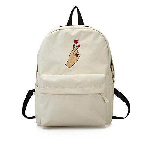 Mochila de lona linda mujer Rose bordado Mochilas para adolescentes mujeres's Travel Bagss Mochila mochilas escolares Black Rose L31 W13 H40cm White heart