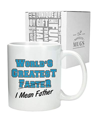 World's Greatest Farter, I Mean Father Coffee Mug Funny Christmas Gift for Dad, Grandpa, Husband From Son, Daughter, Wife for Coffee & Tea Lovers Birthday Gift for Men Ceramic Mug 11 Oz. White