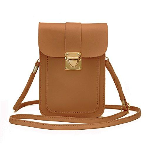 WOZEAH Crossbody Purse And Handbags Mini Cellphone Pouch Wallet Bag (brown) ()