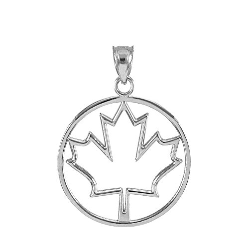 (Polished 925 Sterling Silver Open Design Canada Maple Leaf Charm Pendant)
