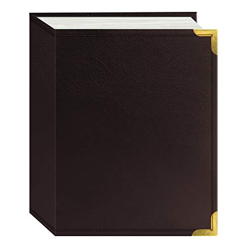 Pioneer 100 Pocket Burgundy Sewn Leatherette Cover with Brass Corner Accents Photo Album, 4 by 6-Inch