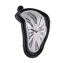 Genenic Shelf Hanging Melted Quartz Clock Melting Clock(17x12cm) (Black)