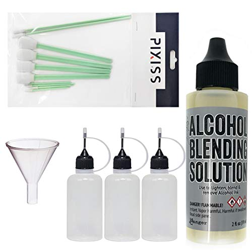 Ranger 2-Ounce Alcohol Ink Blending Solution, 10x Pixiss Alcohol Ink Blending Tools, 3 Pixiss 20ml Needle Tip Applicator and Refill Bottles and 1.5 inch Funnel Bundle for Yupo and Resin ()
