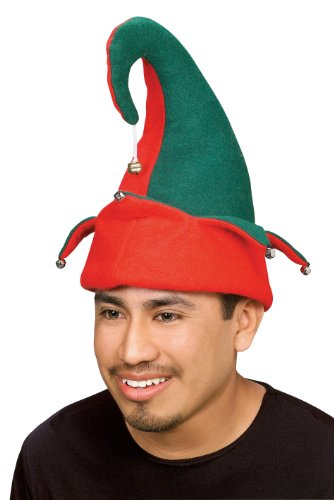 Jingles The Jester Clown Costumes (Rubie's Elf Hat with Bells, Red/Green, One Size)
