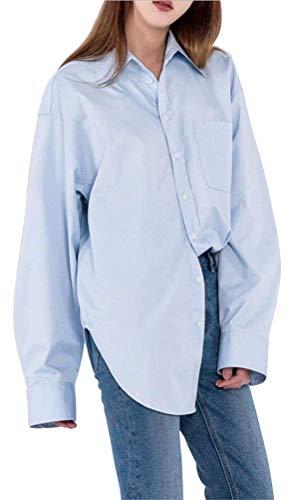Huixin Shirt Donna Manica Lunga Bavero Single Breasted Taglie Forti Blusa Tops Fashion Eleganti Baggy Casual Ragazza Colori Solidi Camicetta Camicia Basic Primaverile Autunno Blau