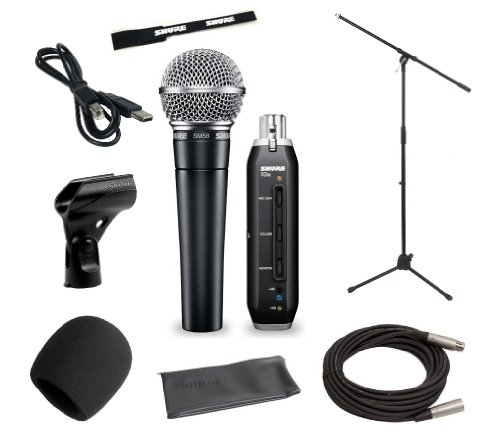 Shure Home Recording Studio Start-up Kit With Shure SM58 Vocal Microphone, Shure X2U XLR-to-USB Audio Interface, 20-Foot XLR Cable, Boom Stand, Windsc