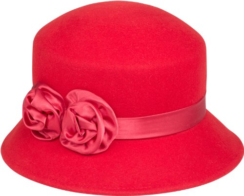 in Rose Vintage Style Wool Cloche Hat - Red - One Size (Cloche Style Red Wool Hat)