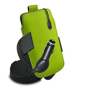 ONX3 Acer Liquid S2 Leather Slip cuerda del tirón de la PU de protección en la bolsa con el caso de Quick Release, 360 Rotación del parabrisas del coche y cuna 12v Micro USB cargador de coche (verde)
