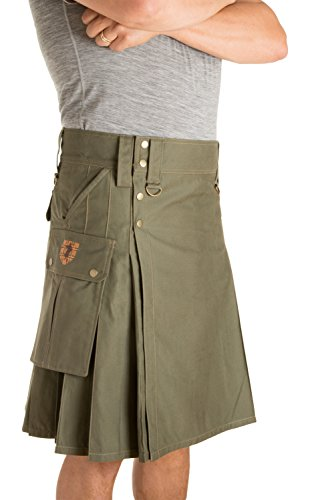 Damn Near Kilt 'Em Men's Stowaway Utility Kilt XX-Large Military Green ()
