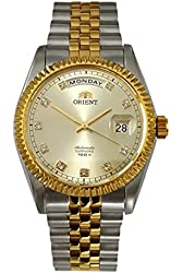 """ORIENT """"Oyster"""" Classic Automatic Sapphire Watch Two Tone Gold CEV0J002C"""