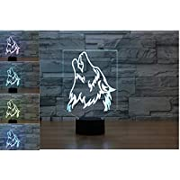 3D Wild Wolf Night Light 7 Color Change LED Table Desk Lamp Acrylic Flat ABS Base USB Charger Home Decoration Toy Brithday Xmas Kid Children Gift
