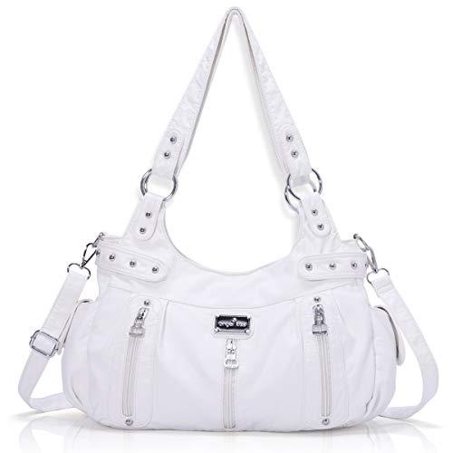 Handbag Hobo Women Handbag Roomy Multiple Pockets Street ladies' Shoulder Bag Fashion PU Tote Satchel Bag for Women (AK19244#-87#White)