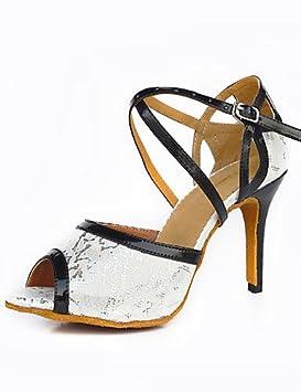 6d25ffad DaMonicv mujer Zapatos de Baile de satén suela gamuza moderno Swing Latino  de Salsa Zapatos tacón negro,Blanco,US8.5/EU39/UK6.5/CN40: Amazon.es:  Deportes y ...