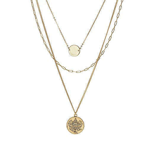 ACC PLANET Coin Pendant Necklace Gold Plated Disc Coin Vintage Gold Layered Necklace for Women Jewelry