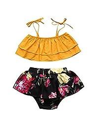 SUPEYA Baby Girls Ruffle Two Pieces Bikini Floral Print Swimwear Bathing Suits
