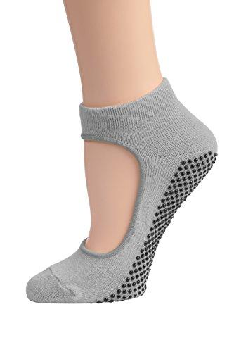 DG SPORTS Calcetines al tobillo de yoga para mujer con agarres antideslizantes de Mary Jane Bella, Gris, Pequeño/Mediano