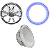 Wet Sounds Revo 10 Subwoofer, Grill, RGB LED Ring - White Subwoofer & Gunmetal Steel Grill - 4 Ohm
