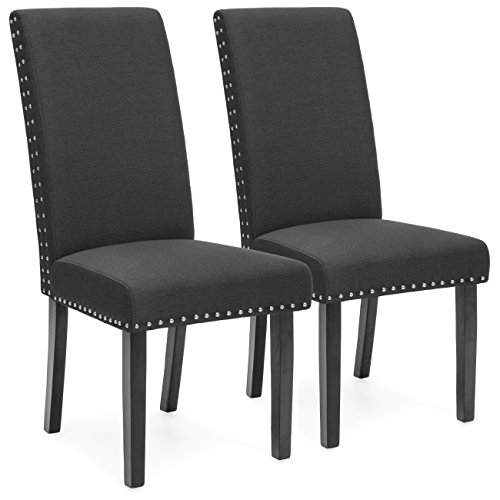 Best Choice Products Faux Leather Upholstered Nail Head Studded Parsons Dining Chairs, Set of 2, Gray (Nailhead Chair Parsons)
