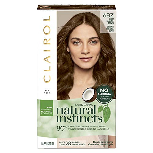 Clairol Natural Instincts Semi-Permanent Hair Color Kit (Pack of 3) 6BZ / 12A Navajo Bronze Light Caramel Brown, Ammonia Free, Long Lasting