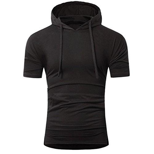 Hot Sale!!ZYooh Hooded Pullover Men's short Sleeves Shirt,Fashion Sling Design Casual Slim Male Dress Shirt Blouse